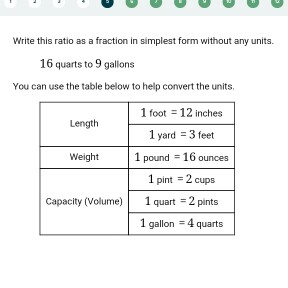 Question Write This Ratio As A Fraction In Simplest Form Without Any Units 16 Quarts To 9 Gallons You C