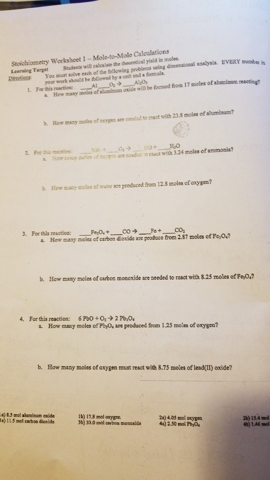 Solved: Stoichiometry Worksheet 1 - Mole-to-Mole Calculati ...
