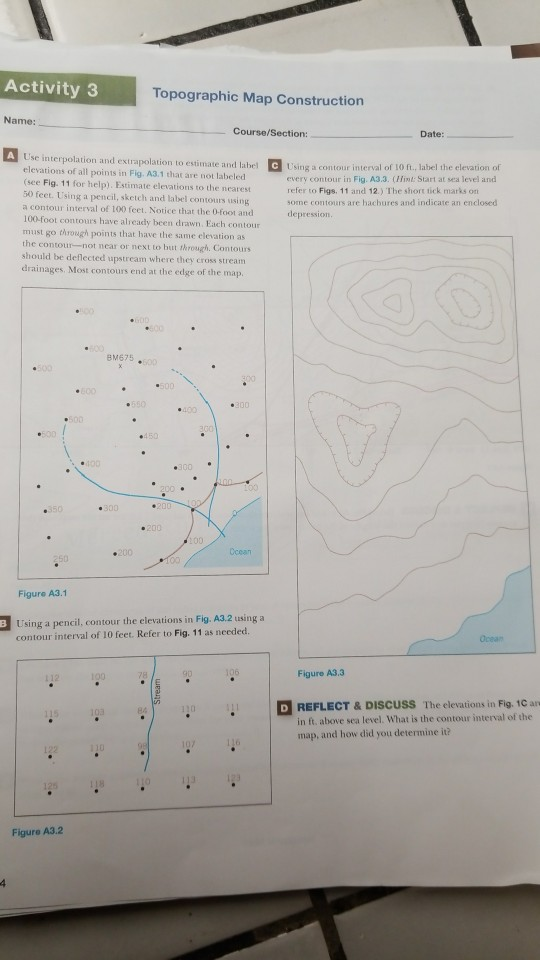 Solved Activity 3 Topographic Map Construction Name Cour