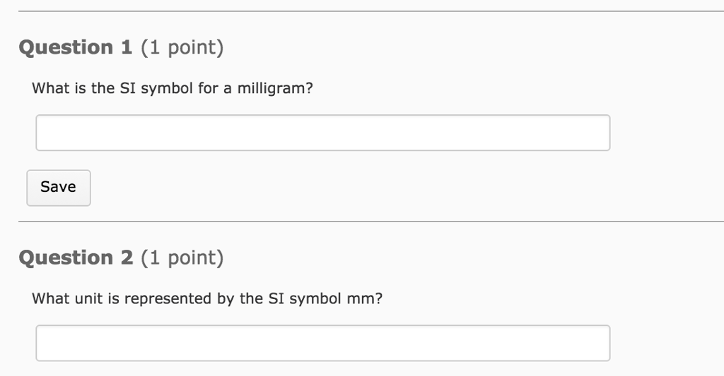 Solved Question 1 1 Point What Is The Si Symbol For A M