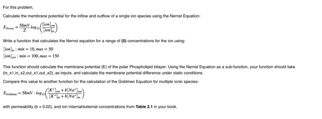 Nernst Equation Membrane Potential
