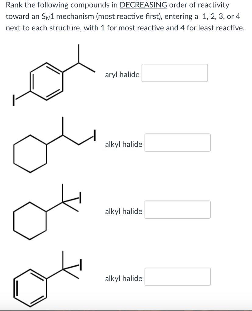 reactivities of alkyl halides lab report Alkyl halides undergo many reactions in which a nucleophile displaces the halogen atom bonded to the central carbon of the molecule the displaced halogen atom.