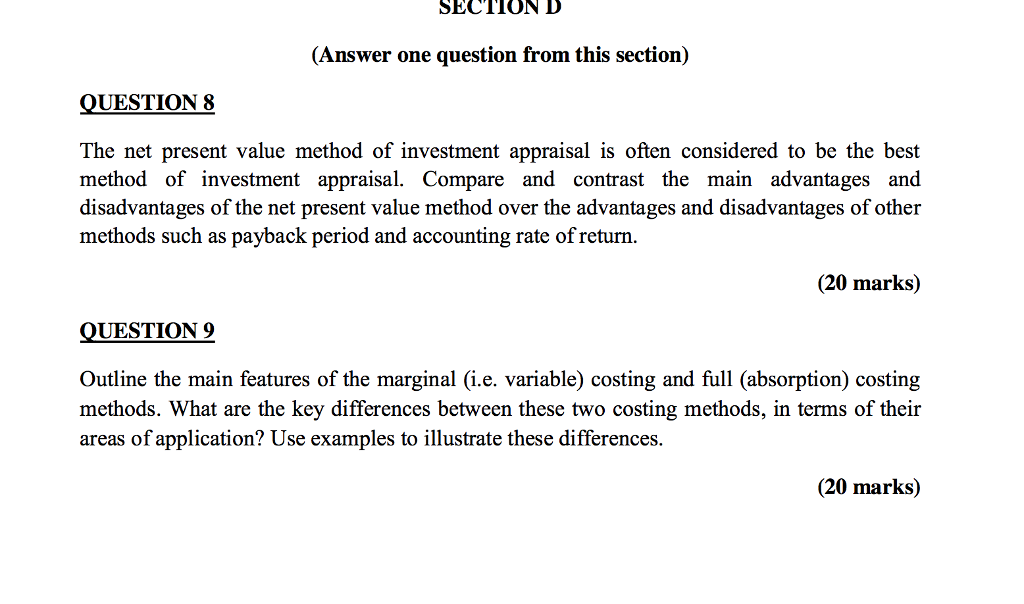 Solved: SECTION D (Answer One Question From This Section ...