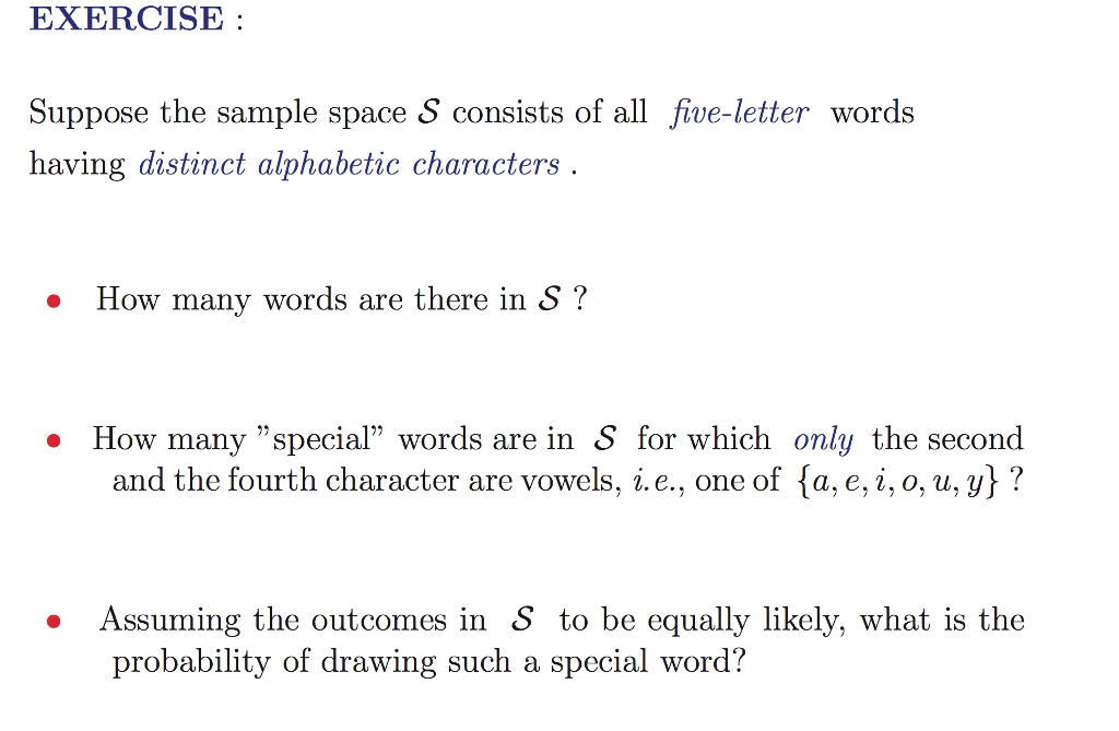 Exercise Suppose The Samplee S Consists Of All Five Letter Words Having Distinct Alphabetic