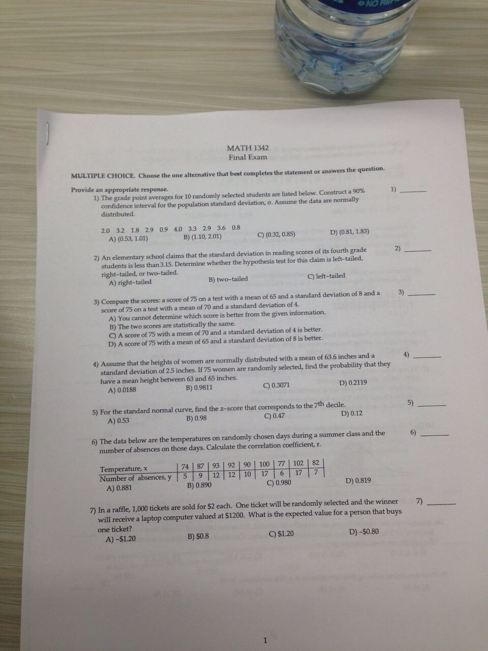 Solved: MATH 1342. Final Exam MULTIPLE CHOICE. Choose The ...
