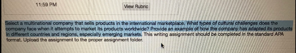 Solved: 11:59 PMM View Rubric Select A Multinational Compa