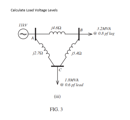 Calculate Load Voltage Levels IkV 3.2MVA @ 0.8 pf lag ー> 18MVA 0.6 pf lead FIG. 3