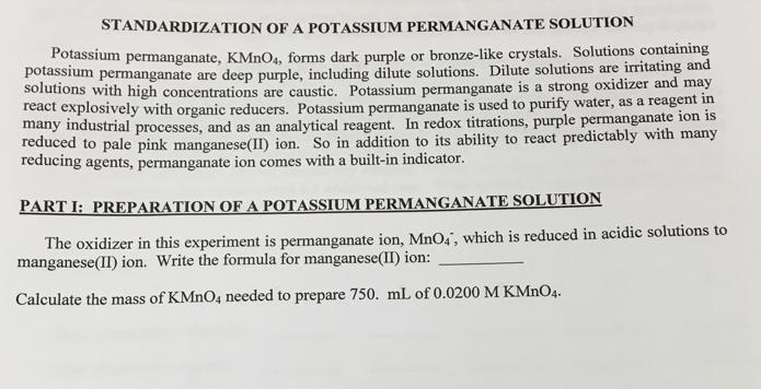 preparation and standardization of potassium permanganate