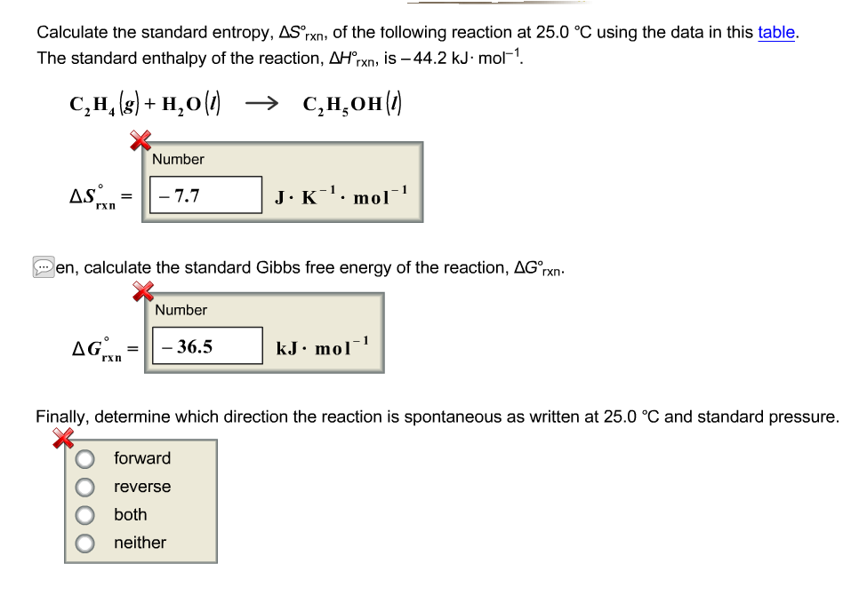 Calculate the standard entropy delta s rxn degree for Delta s table chemistry