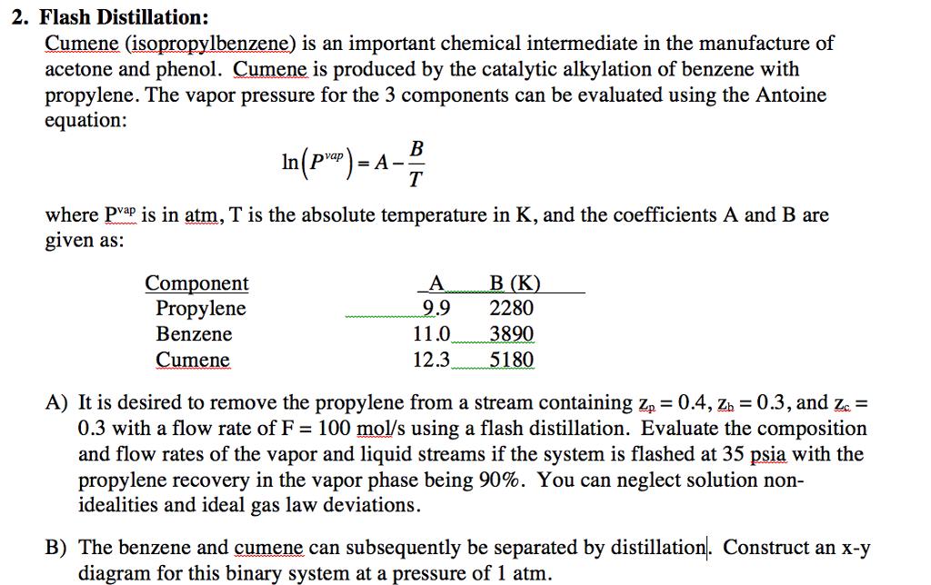 Flash Distillation: Cumene (isopropylbenzene) Is A ...