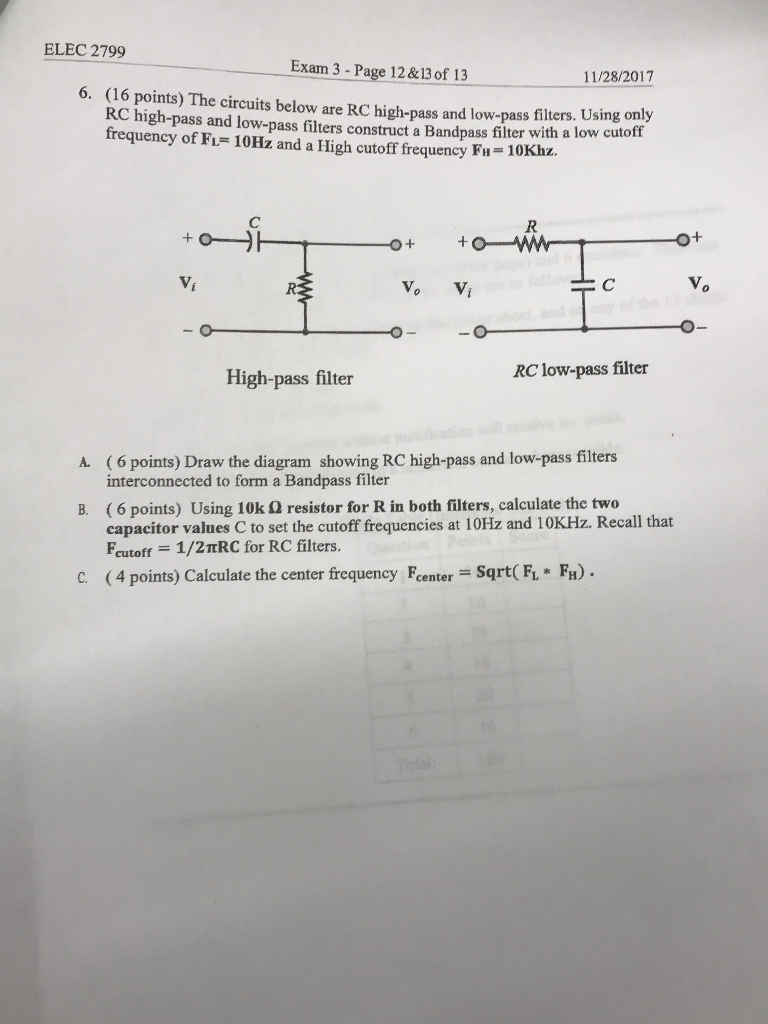 Solved Elec 2799 Exam 3 Page 12 13 Of 6 16 Points Low Pass Rc Filter Diagram