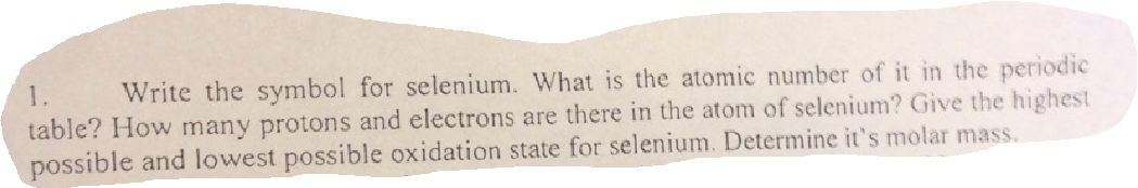 Solved 1 write the symbol for selenium what is the atom image for 1 write the symbol for selenium what is the atomic number of urtaz Images