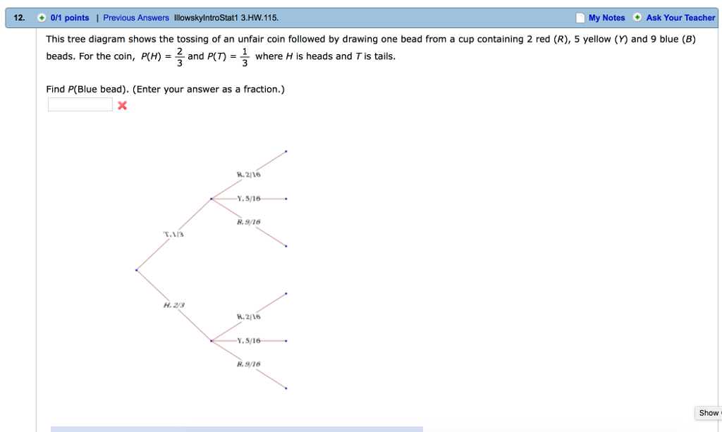 Solved this tree diagram shows the tossing of an unfair c 12 01 points i previous answers illowskylntrostat1 3hw115 my notes show transcribed image text this tree diagram shows the tossing ccuart Choice Image
