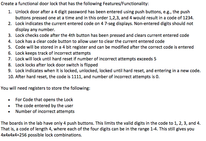Create A Functional Door Lock That Has The Followi    | Chegg com