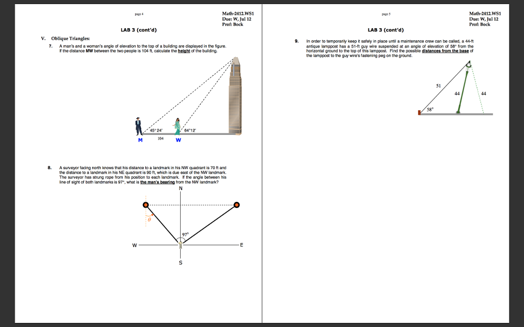 Solved Oblique Triangles A Mans And A Womans Angle Of