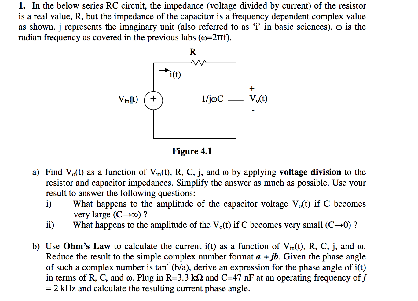 solved in the below series rc circuit, the impedance (volin the below series rc circuit, the impedance (vol