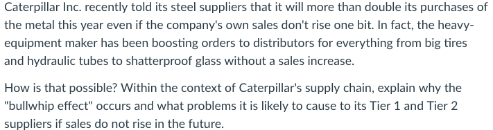 Solved: Caterpillar Inc  Recently Told Its Steel Suppliers