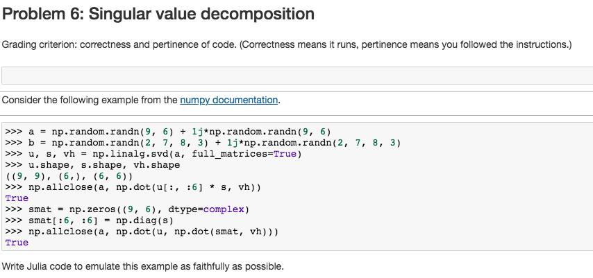 Problem 6 Singular Value Decomposition Grading Cr Chegg