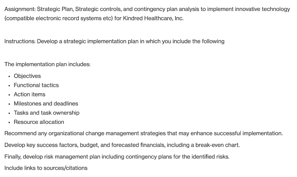 Solved: Assignment: Strategic Plan, Strategic Controls, An