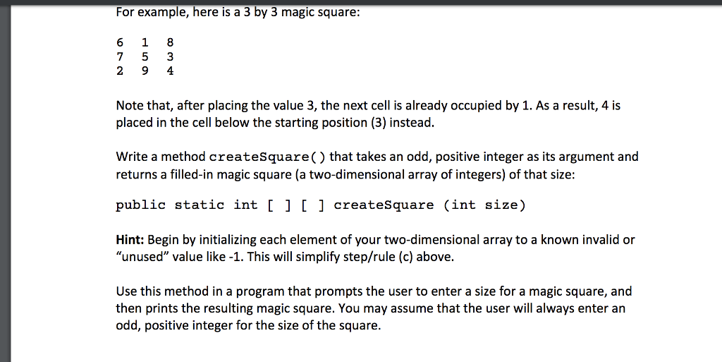 Solved: 2  A Magic Square Is A N X N Array Of Cells Where