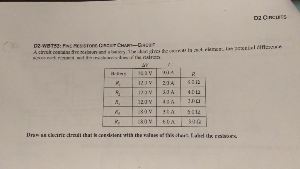 Solved: D2 CIRCUITS D2-WBT53: FIVE RESISTORS CIRCUIT CHART ...