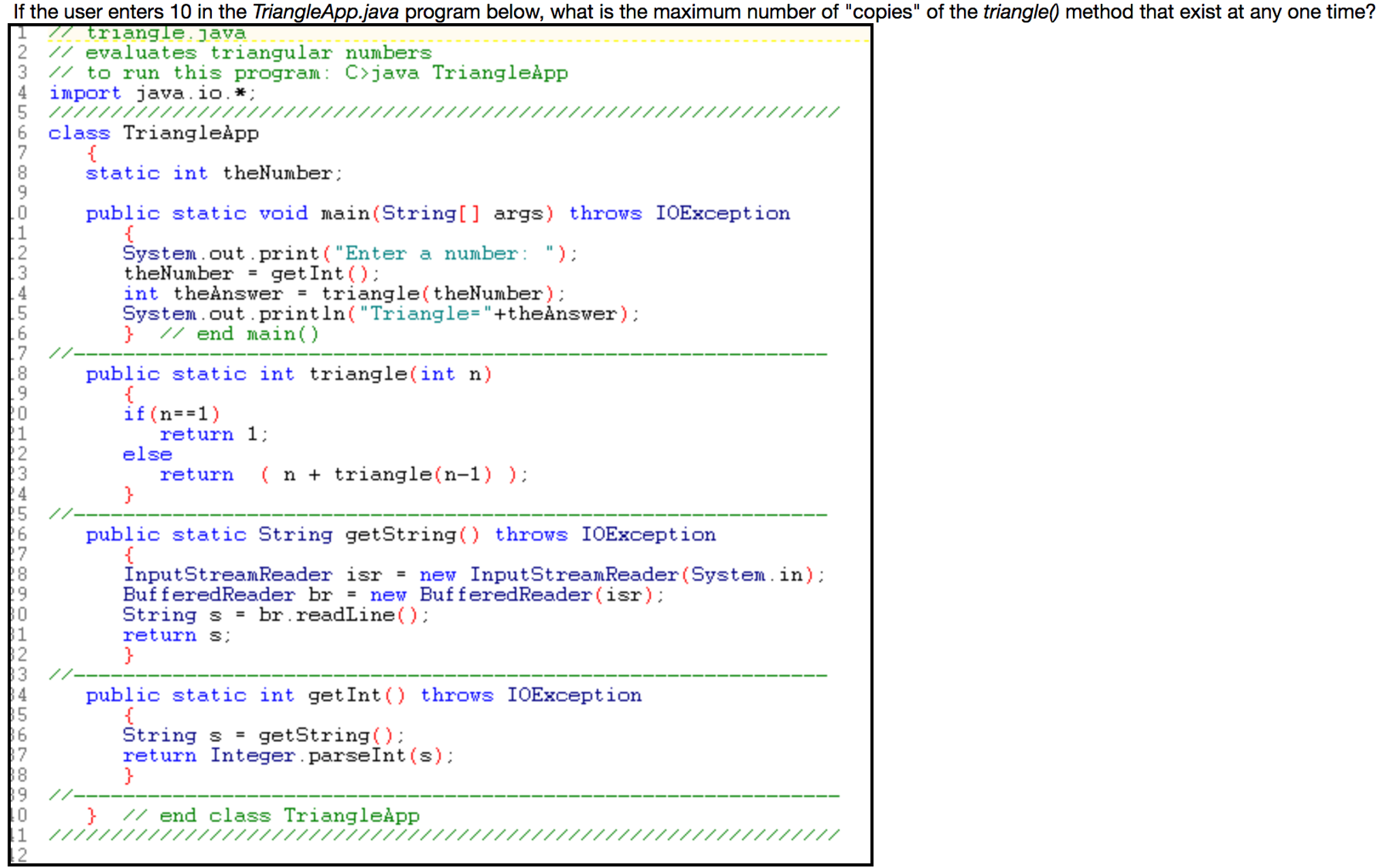 Solved: If The User Enters 10 In The Triangle App  Java Pr