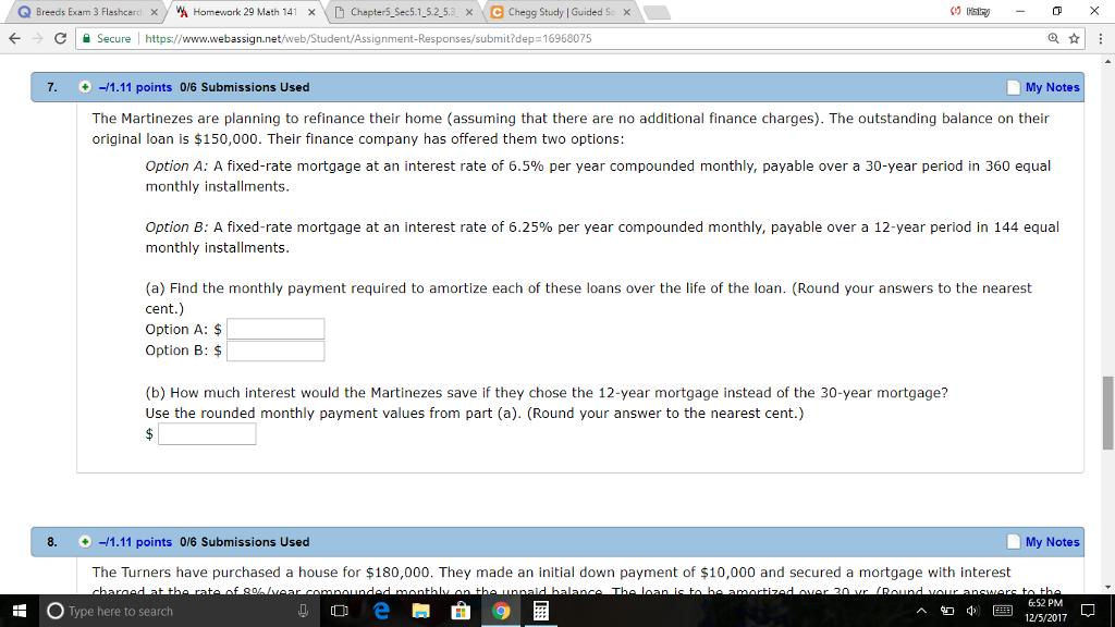 Solved: Q Breeds Exam 3 Flashcarci X Home Work 29 Math 141 ...