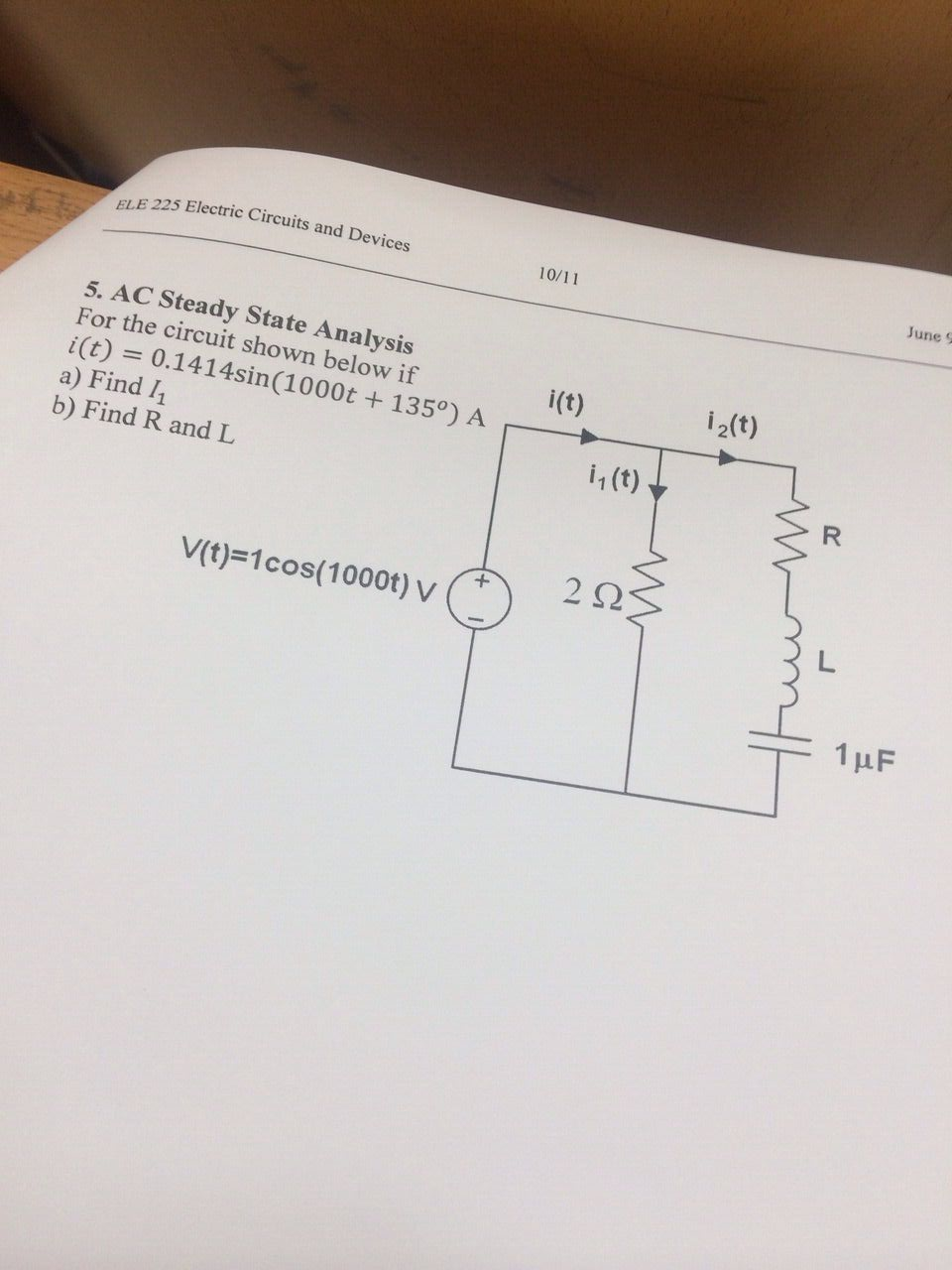 AC Steady State Analysis For the circuit shown be