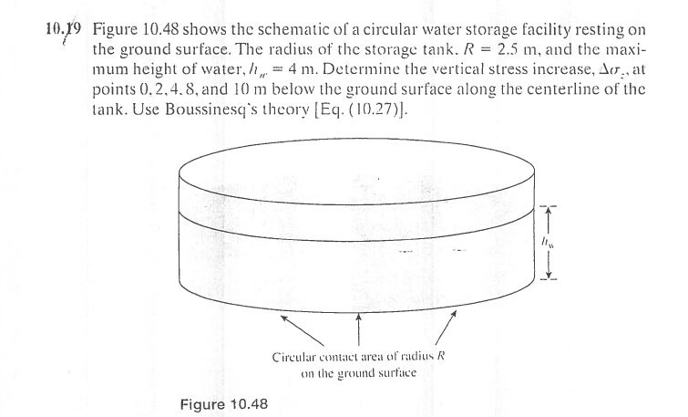 solved figure 10 48 shows the schematic of a circular wat water tank drawing 10 19 figure 10 48 shows the schematic of a circular water storage facility resting on the ground
