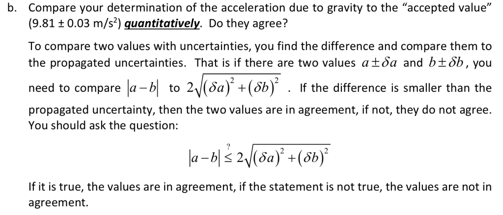 Solved B Compare Your Determination Of The Acceleration