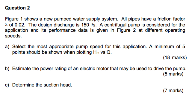 Solved: Question 2 Figure 1 Shows A New Pumped Water Suppl