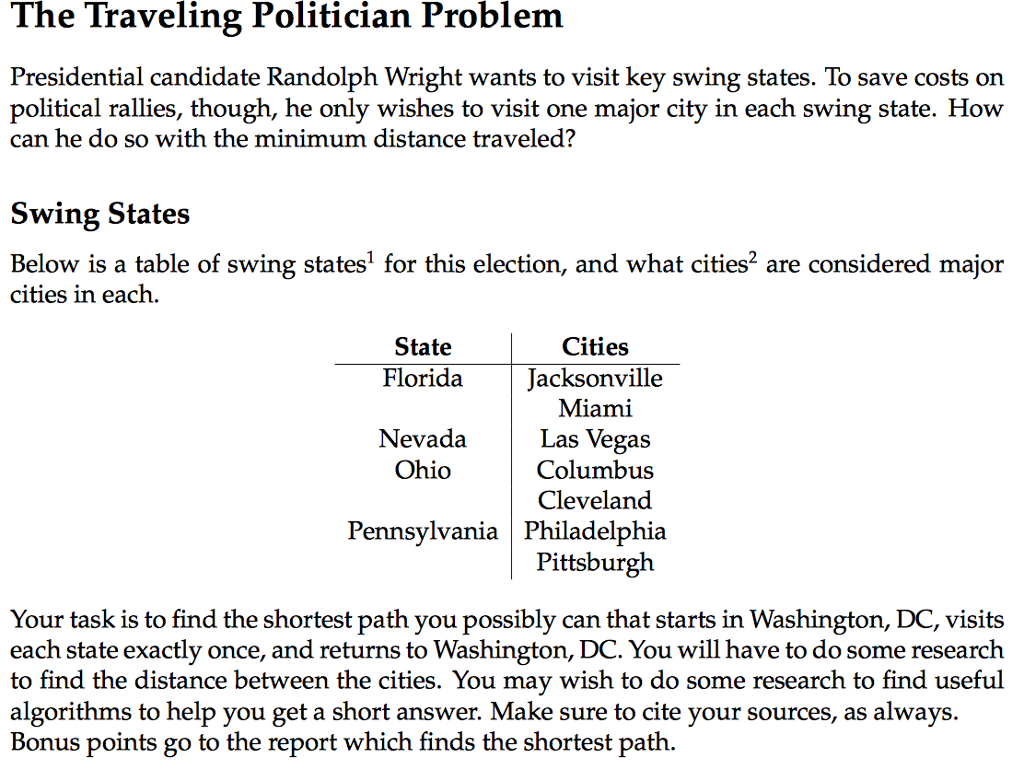 Solved The Traveling Politician Problem Presidential Cand