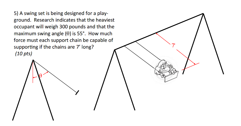 Solved A Swing Set Is Being Designed For A Playground Re