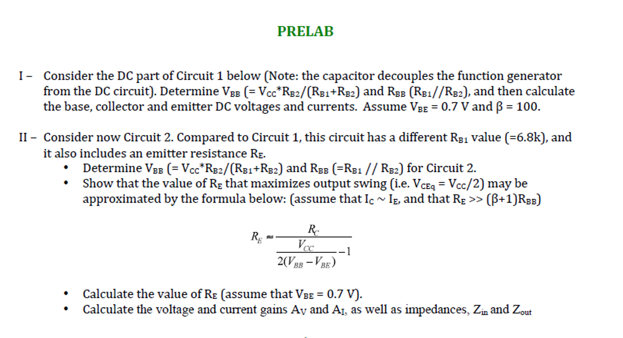 Solved Prelab I Consider The Dc Part Of Circuit 1 Below Calculations