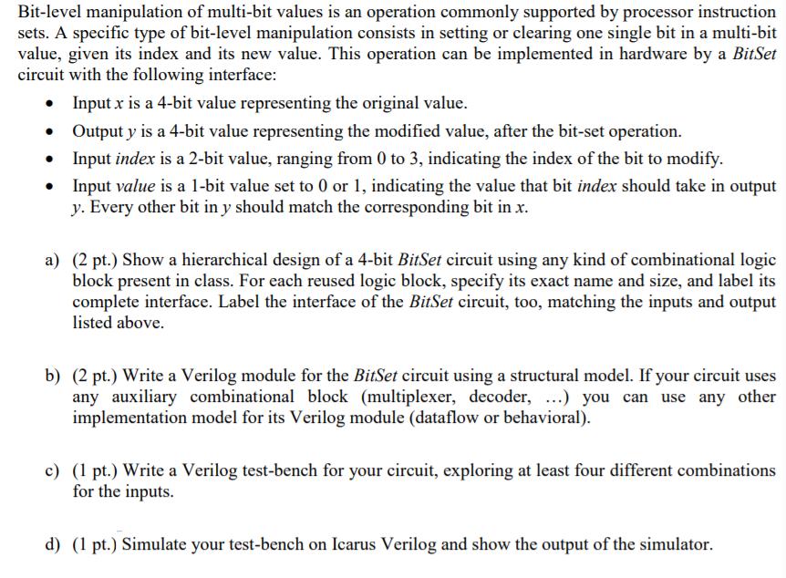 Bit-level Manipulation Of Multi-bit Values Is An O    | Chegg com