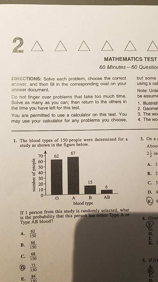 Solved: MATHEMATICS TEST 60 Minutes-60 Questio DIRECTIONS