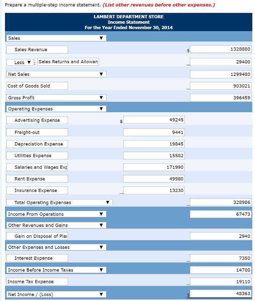 prepare a multiple step income statement list ot chegg com
