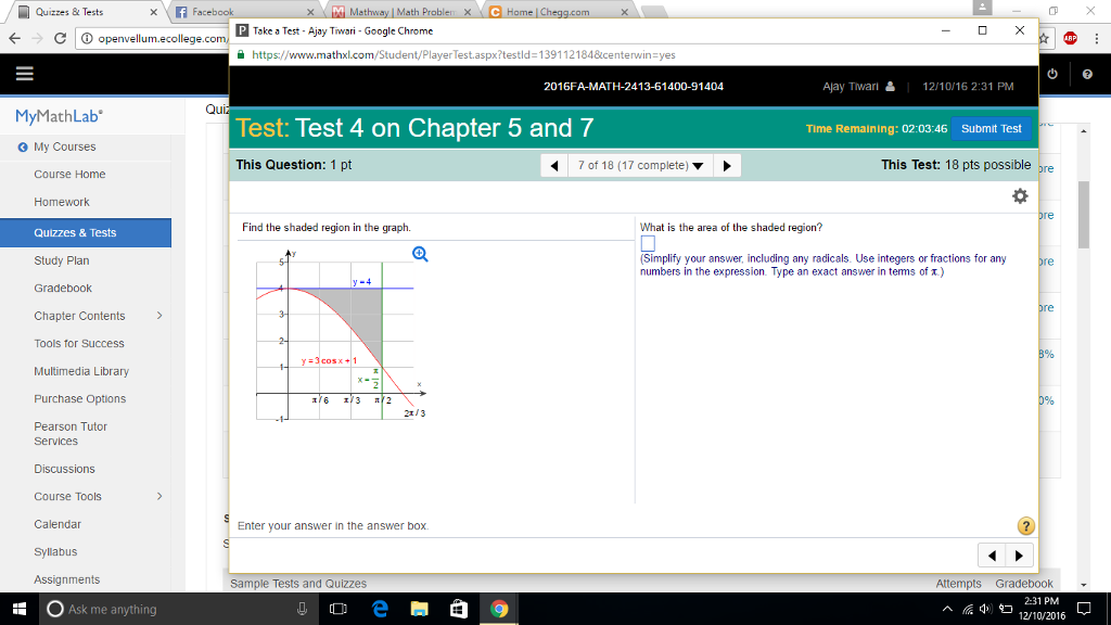 Solved: Quizzes & Test X F Facebook X M Mathway Math Probl ... on