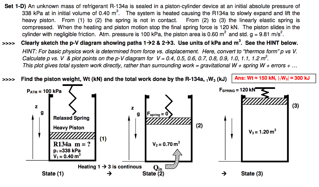Solved: An Unknown Mass Of Refrigerant R-134a Is Sealed In ...