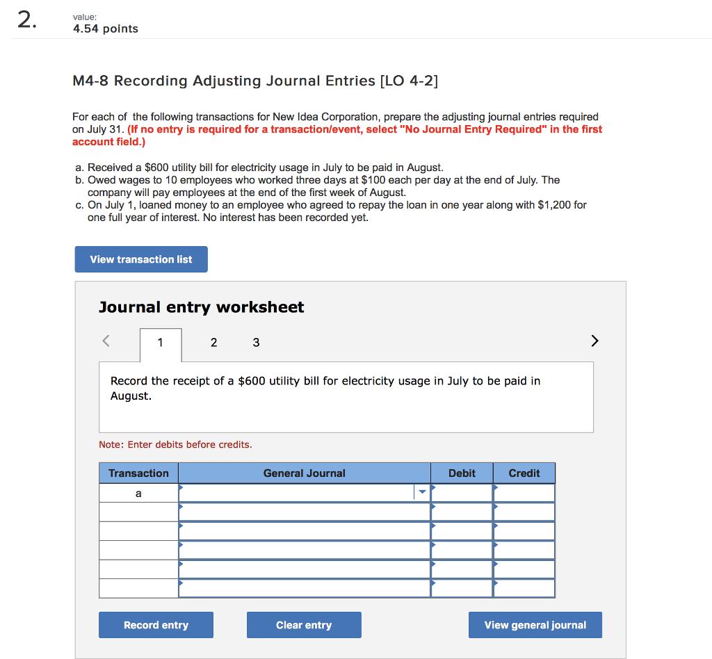 worksheet Journal Entry Worksheet solved value 4 54 points m4 8 recording adjusting journa journal entries lo 2