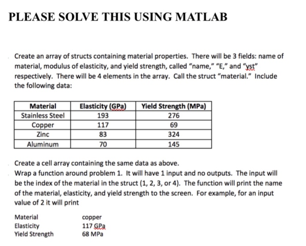 Solved: PLEASE SOLVE THIS USING MATLAB Create An Array Of