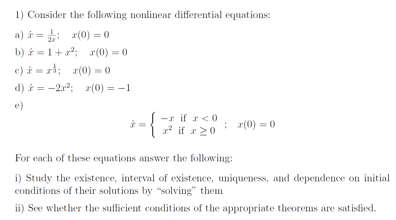 solved: consider the following nonlinear differential equa