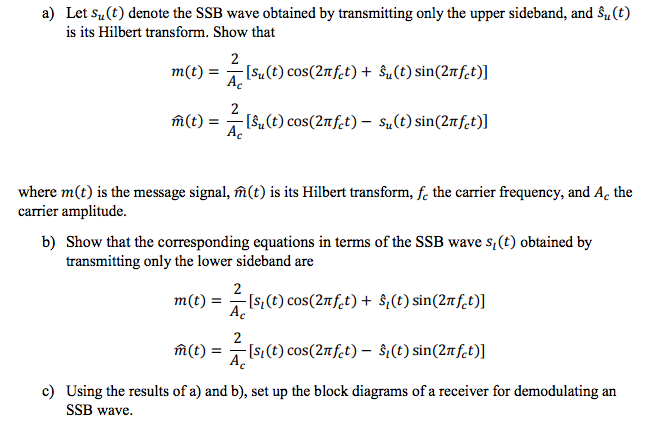 Solved: Let S_u(t) Denote The SSB Wave Obtained By Transmi