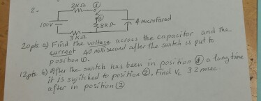 Find the voltage across the capacitor and the cu