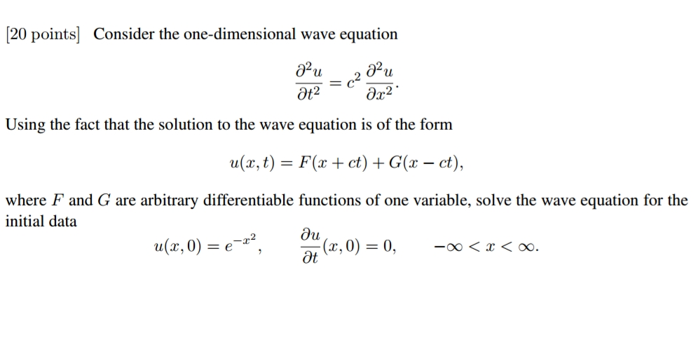 Solved: Consider The One-dimensional Wave Equation Partial
