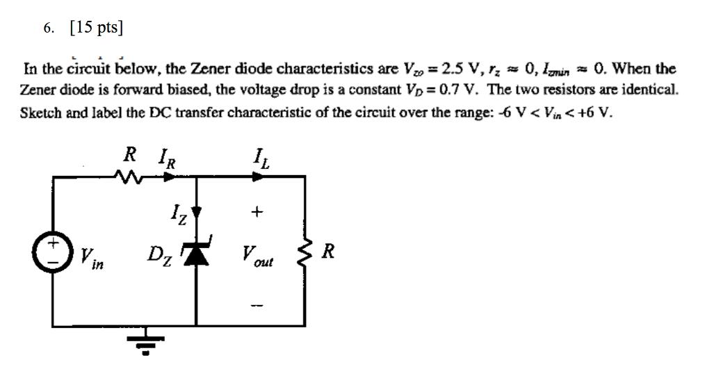 circuit diagram zener diode characteristics solved: in the circuit below, the zener diode characterist ...