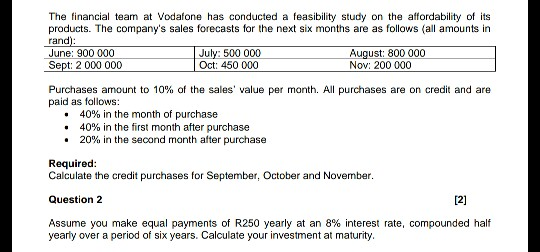 Solved: The Financial Team At Vodafone Has Conducted A Fea