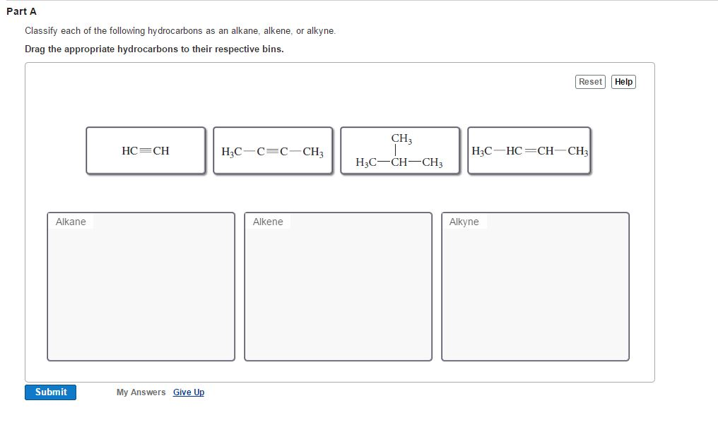 solved classify each of the following hydrocarbons as an