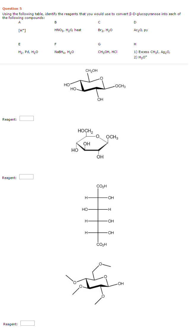 Solved Using The Following Table Identify The Reagents T