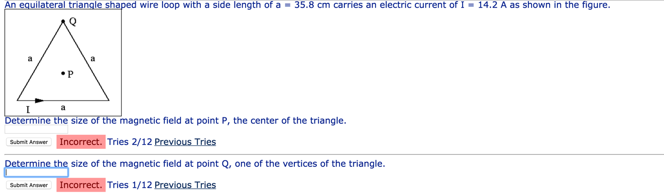 Solved: An Equilateral Triangle Shaped Wire Loop With A Si ...